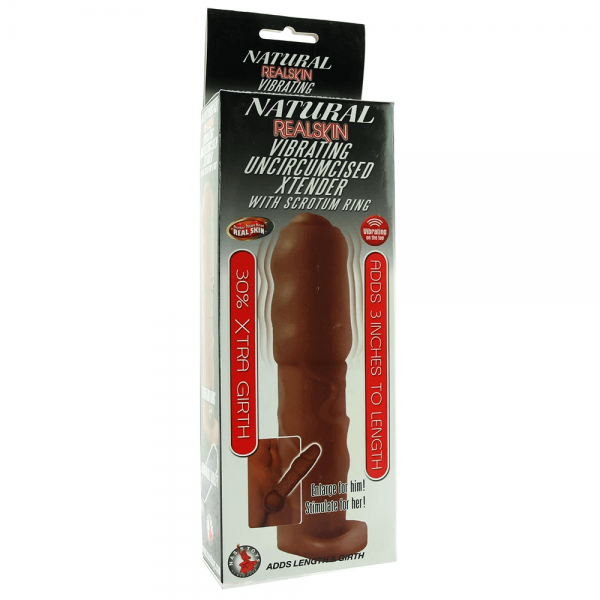Uncircumcised Vibrating Xtender with Scrotum Ring in Brown 4